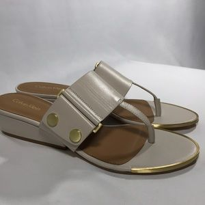Calvin Klein sandals in cream and tan leather NEW!